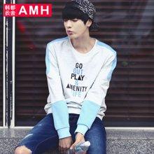 AMH 男装韩版 2016秋季新款修身圆领外套学生长袖男士卫衣