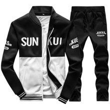 史克维斯棒球领开衫运动卫衣套装拼接色韩版卫衣系带卫裤中青年STD35