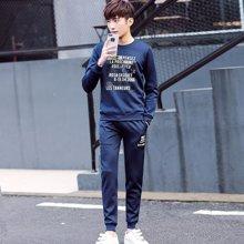 史克维斯男士休闲套装春季新款套头韩版修身卫衣两件套青少年运动服套装男TD56