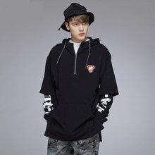 Guuka/古由卡潮牌假两件卫衣男套头连帽学生外套街舞跑酷嘻哈青少年Hiphop帽衫W0711