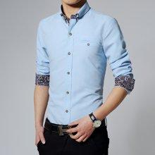 史克维斯春款韩版修身男士长袖衬衫纯色休闲紧身衬衣潮男装C1556