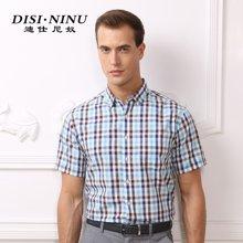 迪仕尼奴短袖衬衫夏季新款中年休闲纯棉格子短袖衬衫男装薄8327B
