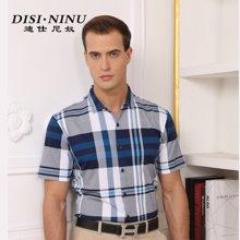 迪仕尼奴 夏新款双丝光棉男士短袖衬衫 免烫中年休闲纯棉衬衣男式8514A