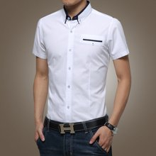 史克维斯短袖衬衫男青年夏季男装韩版修身男士商务休闲衬衣纯棉薄款寸衫男SC8811