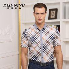 迪仕尼奴 夏季新款男士短袖衬衫中年 免烫商务休闲半袖衬衣薄8334B
