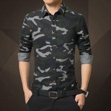 Guuka/古由卡欧美迷彩军旅风长袖衬衫男时尚修身纯棉韩版免烫新款英伦上衣衬衣1362