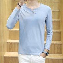 史克维斯时尚韩版长袖t恤男新款纯色休闲修身一粒扣V领潮打底衫棉T801