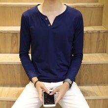 史克维斯t恤男V领纯棉二粒扣薄款纯色韩版修身体恤日系青少年男装T潮T812