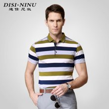 迪仕尼奴 新款商务男士夏季短袖 翻领条纹休闲POLO衫短袖T恤0053