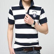 史克维斯夏季品牌衣服男装体恤条纹全棉Polo衫中年男士短袖t恤潮ST1616
