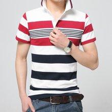史克维斯中青年年男士短袖t恤男翻领薄T恤夏季条纹体恤polo衫上衣韩版潮ST1649