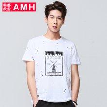 AMH男装韩版2017夏季新款男青年学生休闲短袖T恤男士