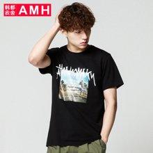 AMH男装韩版2017夏装新款圆领学生印花修身短袖T恤潮男