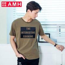 AMH男装韩版2017夏装新款潮流学生个性圆领宽松短袖T恤男