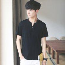 Guuka/古由卡男士休闲短袖T恤型男透气上衣V领纯色潮流ZX701
