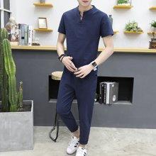 史克维斯男士九分裤休闲套装学生韩版潮流短裤两件套夏季修身亚麻七分裤薄TZ708JY