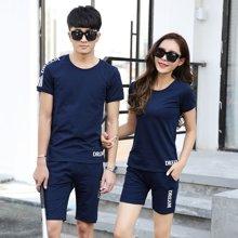 史克维斯夏季男士短袖T恤韩版半袖情侣装夏装衣服潮2017新款休闲套装一套T906qy