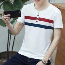 史克维斯短袖T恤男2017夏装新款修身韩版莱卡男士圆领t恤潮T1928LM
