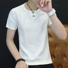 史克维斯夏季T恤男短袖亚麻t恤潮男装纯色圆领衣男士半袖衫T1665