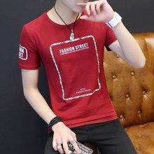 史克维斯夏装新款男装衣服 潮流行圆领打底衫红色半袖体恤男生短袖t恤男T1601