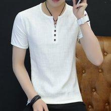 史克维斯夏季棉麻短袖T恤男士纯色亚麻体恤青年男装衣服新款T1662
