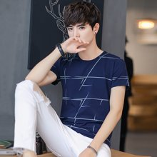 史克维斯男士短袖t恤圆领条纹夏季新款韩版修身半袖体恤个性夏装衣服潮流T12GT