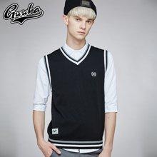 Guuka/古由卡男士毛衣背心纯棉英伦套头V领坎肩青少年无袖韩版修身条纹针织衫B5344