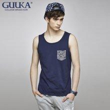 Guuka/古由卡 潮牌民族风背心夏季薄款纯色汗衫修身无袖T恤男士韩版运动汗背心B7227