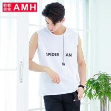 AMH男装韩版2017夏季新款学生个性印花修身圆领男背心