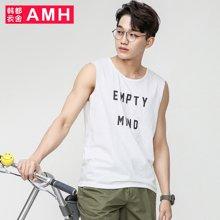 AMH男装韩版2017夏季新款青年休闲学生潮流圆领汗背心男