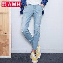 AMH 男装韩版 2017春装新款直筒破洞潮流九分牛仔裤男小脚