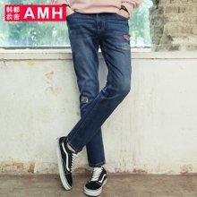 AMH 男装韩版 2016秋季新款青年修身水洗小脚裤牛仔裤男裤子潮麒
