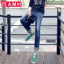 AMH 男装韩版2017春季新款青年水洗修身小脚牛仔裤男裤子青年夢