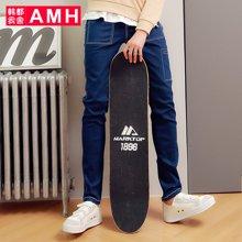 AMH 男装 秋季新款韩版潮流弹力修身青年牛仔裤男小脚裤子恊