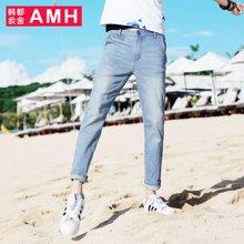 AMH男装韩版2018夏装新款修身小脚潮流九分牛仔裤OD5451夢
