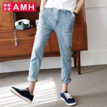 AMH男装韩版2017夏季新款青年修身小脚牛仔裤男九分裤潮