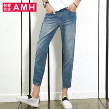 AMH男装韩版2016夏装新款修身休闲水洗条纹牛仔裤男九分裤青年麒