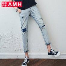 AMH男装韩版2017夏季新款男士潮流修身小脚九分牛仔裤男