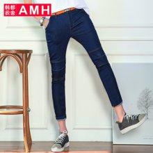 AMH男装韩版2017夏季新款潮流青年休闲九分裤牛仔裤男