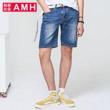 AMH男装韩版2017夏季新款青年学生男士牛仔短裤潮流
