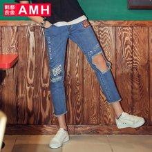 AMH男装韩版2017夏季新款学生个性直筒破洞牛仔裤九分裤