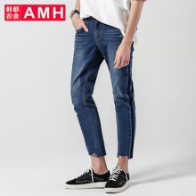 AMH男装韩版2017夏季新款青年拼接男士直筒牛仔裤九分裤