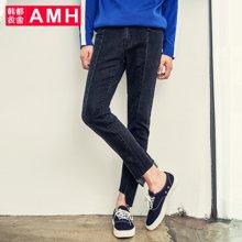 AMH韩版男装2018春季休闲长裤弹力裤潮流牛仔裤男直筒QU7111恊