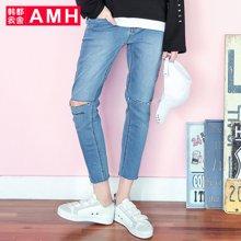 AMH男装韩版2017夏季新款青年休闲小脚破洞九分牛仔裤男