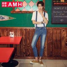 AMH男装韩版2017夏季新款青年直筒九分背带裤牛仔裤男