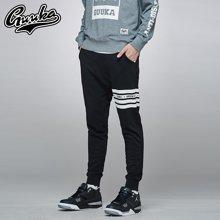 Guuka/古由卡男士条纹收口卫裤青少年束脚裤印花小脚运动哈伦裤潮X7324