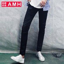 AMH 2016秋季新款青年黑色裤子男休闲裤 韩版潮流男士修身小脚裤璟