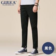 Guuka/古由卡 休闲裤修身百搭纯棉男裤英伦直筒裤子男纯色小脚长裤潮X5005