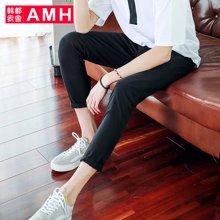 AMH男装韩版2017夏季新款青年学生修身休闲裤九分裤男士