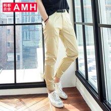 AMH男装韩版2017夏季新款青年男士修身修身休闲九分裤